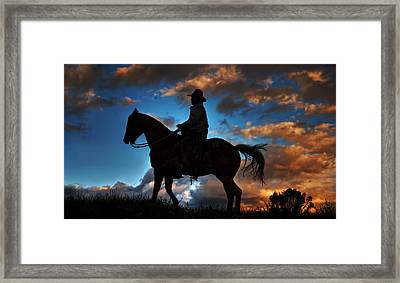 Framed Print featuring the photograph Cowboy Silhouette by Ken Smith