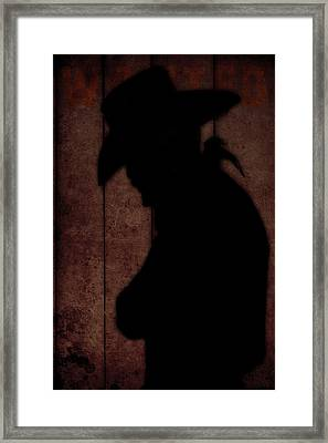Cowboy Silhouette Profile  Framed Print