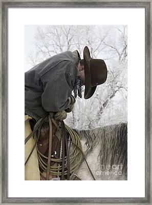Cowboy Sleeps In The Saddle Framed Print by Carol Walker
