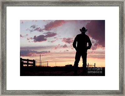 Cowboy Sunset Framed Print by Cindy Singleton