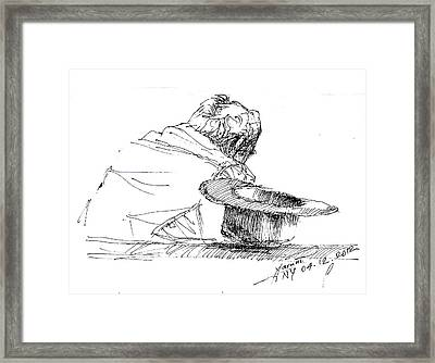 Cowboy Taking A Break  Framed Print by Ylli Haruni