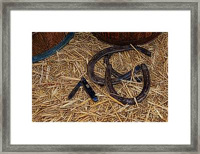 Cowboy Theme - Horseshoes And Whittling Knife Framed Print