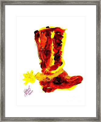 Cowboy Tithing Boot And Spur 5 Framed Print by Richard W Linford