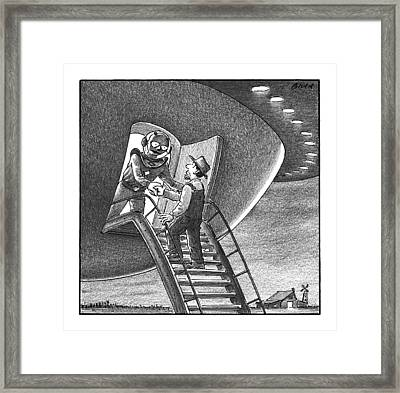 Cowboy Walks Up To A Ufo Greeted By An Alien Framed Print