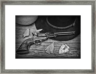Cowboys And Indians In Black And White Framed Print by Paul Ward