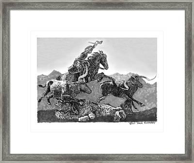 Cowboys And Longhorns Framed Print by Jack Pumphrey