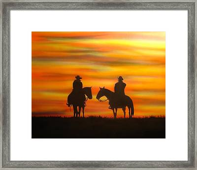 Framed Print featuring the painting Cowboys At Sunset by Chris Fraser