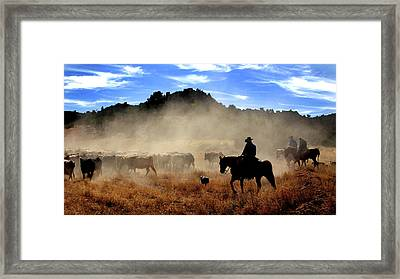 Cowboys Driving Cattle, Moab, Utah, Usa Framed Print