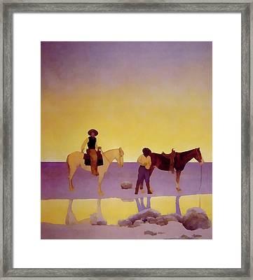 Cowboys Hot Springs Arizona Framed Print by Maxfield Parrish