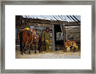 Cowboys On Break Framed Print