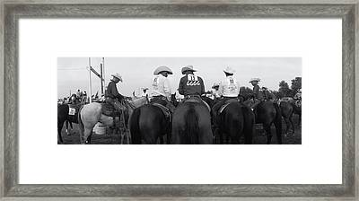 Cowboys On Horses At Rodeo, Wichita Framed Print by Panoramic Images