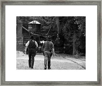 Cowboys Steam Engine Trains Framed Print by Chris Flees