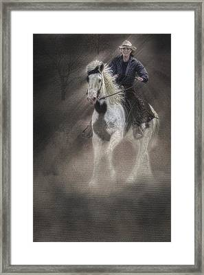 Cowgirl And Knight Framed Print