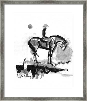 Cowgirl At End Of Day Framed Print by Mary Armstrong