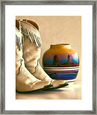 Cowgirl Boots With Fringe Framed Print by Kenny Francis