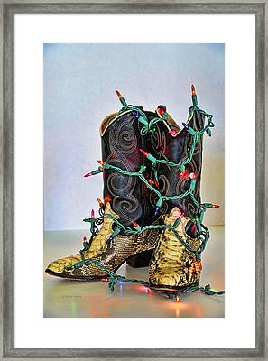 Cowgirl Christmas Framed Print by Kenny Francis