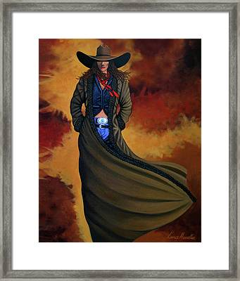 Cowgirl Dust Framed Print by Lance Headlee