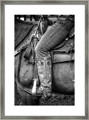 Cowgirl In Black And White Framed Print