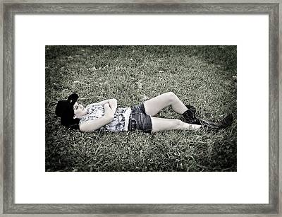 Cowgirl In Clover Framed Print
