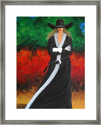 Cowgirl Framed Print by Lance Headlee