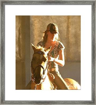 Cowgirl Silhouette Framed Print by Barbara Dudley