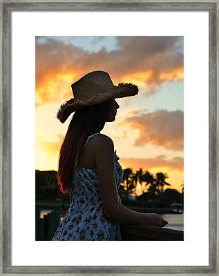 Cowgirl Sunset Framed Print by Laura Fasulo