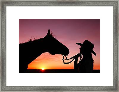 Cowgirl Sunset Framed Print by Todd Klassy