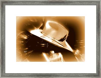 Framed Print featuring the photograph Cowgirls And Harley by Karen Kersey