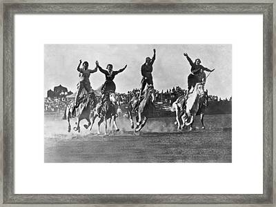 Cowgirls At The Rodeo Framed Print by Underwood Archives