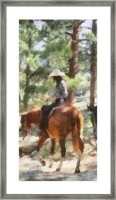 Cowgirl Horseback Riding Framed Print