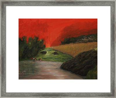 Cows And Storm Framed Print