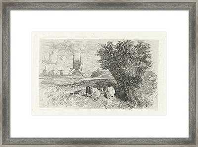 Cows At A Road, Charles Rochussen Framed Print by Charles Rochussen
