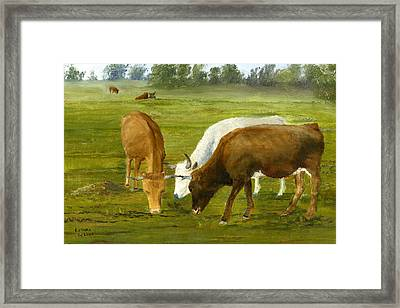 Framed Print featuring the painting Cows Gossip Session In Louisiana Pasture by Lenora  De Lude