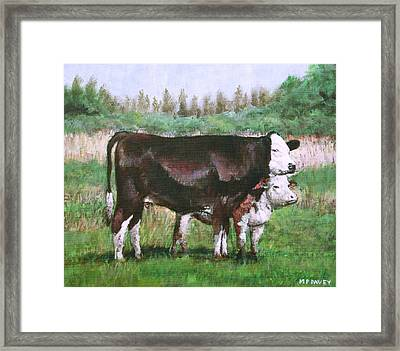Cows In Field Demo Small Painting Framed Print by Martin Davey