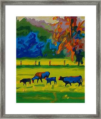 Cows In Texas Field At Sunset Oil Painting By Bertram Poole Framed Print by Thomas Bertram POOLE
