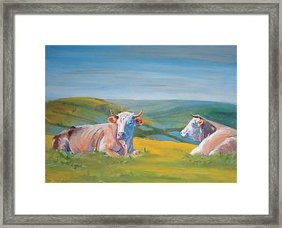Cows Lying Down Painting Framed Print