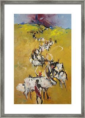 Cows Framed Print by Negoud Dahab
