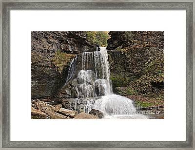 Cowsheds Waterfall In Fillmore Glen State Park Framed Print by Kerry Gergen