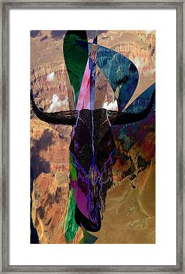 Framed Print featuring the digital art Cowskull Over The Canyon by Cathy Anderson
