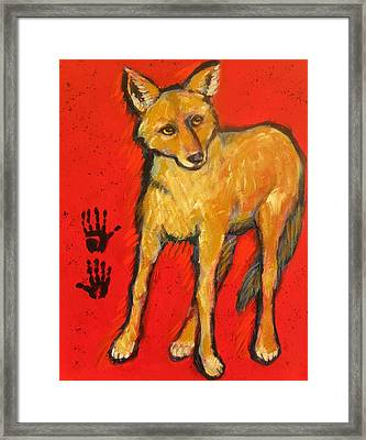 Coyote And Hand Prints Framed Print