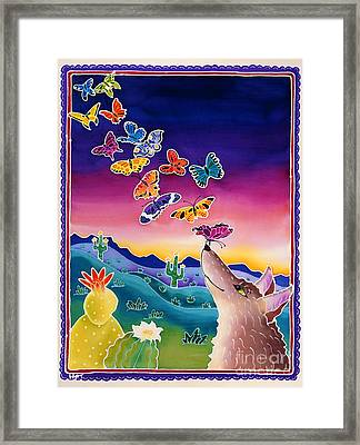 Coyote And The Laughing Butterflies Framed Print