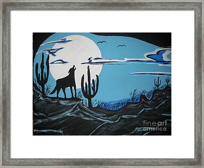 Framed Print featuring the painting Coyote by Jeffrey Koss