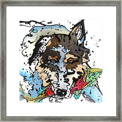 Framed Print featuring the painting Coyote  by Nicole Gaitan