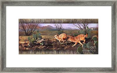Framed Print featuring the painting Coyote Run With Boarder by Rob Corsetti