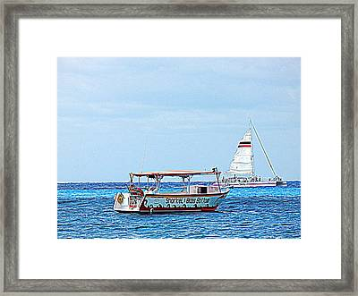 Cozumel Excursion Boats Framed Print by Debra Martz