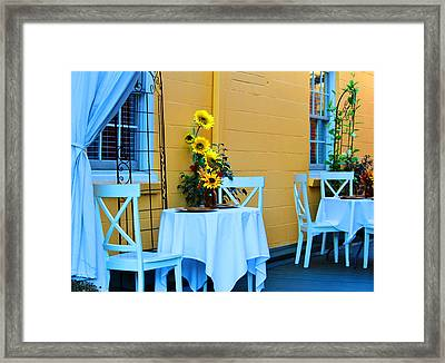 Cozy Table For Two Framed Print by Cynthia Guinn