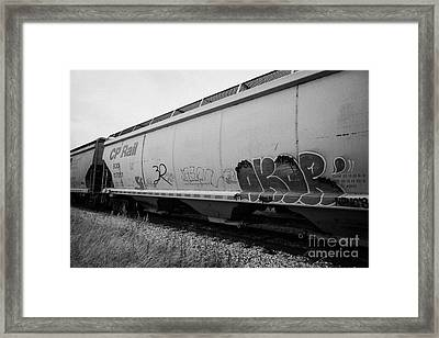 cp rail freight grain trucks with tag graffiti on former canadian pacific railway Saskatchewan Canad Framed Print by Joe Fox