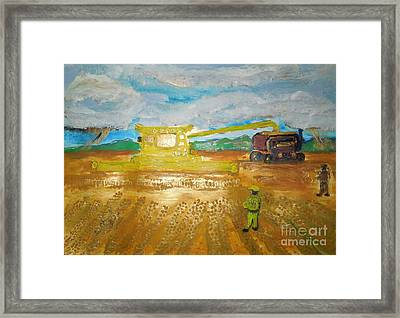Cr9090 Combine Harvester New Holland World's Biggest Hasten The Work 1 Framed Print by Richard W Linford