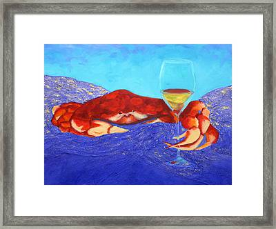 Framed Print featuring the painting Crab And Chardonnay by Nancy Jolley
