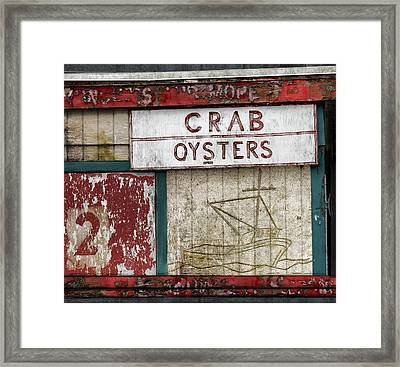 Crab And Oysters Framed Print by Carol Leigh